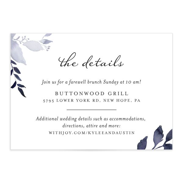 leafy frame wedding enclosure cards in navy