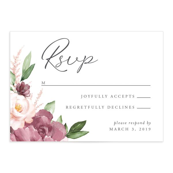 Purple Beloved Floral Wedding RSVP Cards