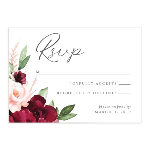 Red Beloved Floral Wedding RSVPs Cards