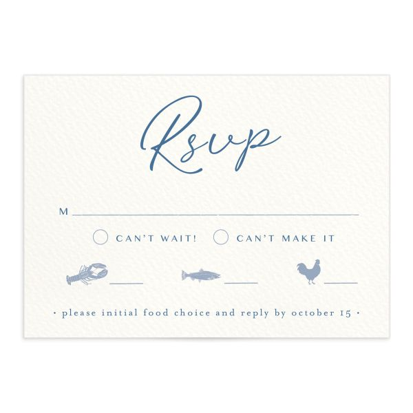 Coastal Love wedding RSVP in blue front
