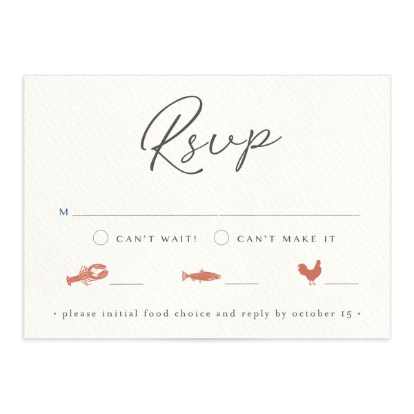 Coastal Love wedding RSVP in grey front