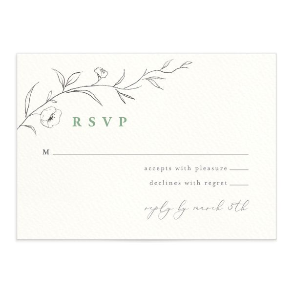 graceful botanical wedding rsvp cards in green