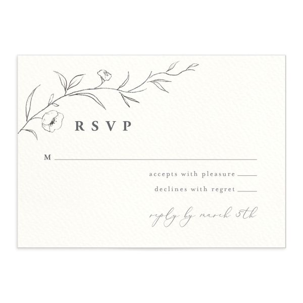 graceful botanical wedding rsvp cards in grey