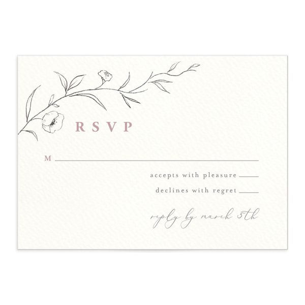 graceful botanical wedding rsvp cards in pink