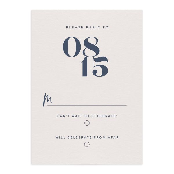 modern luxe wedding rsvp cards in blue