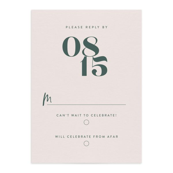 modern luxe wedding rsvp cards in green