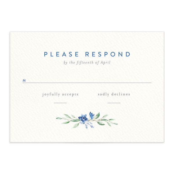 watercolor crest wedding rsvp cards in blue