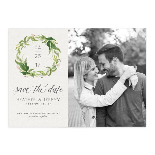leafy wreath photo save the date cards