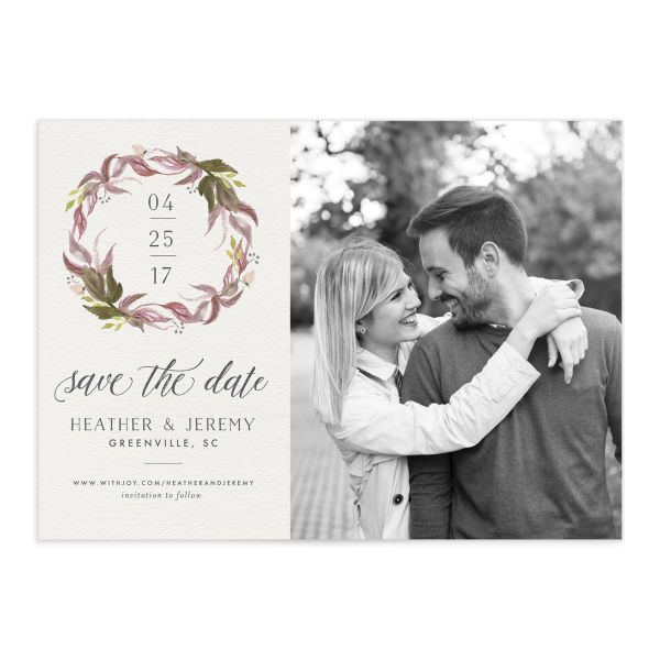 leafy wreath save the date cards in purple