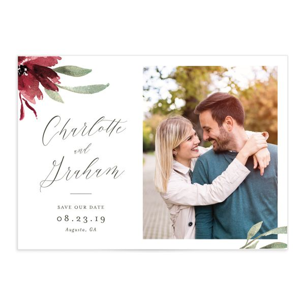 muted floral photo save the dates in burgundy