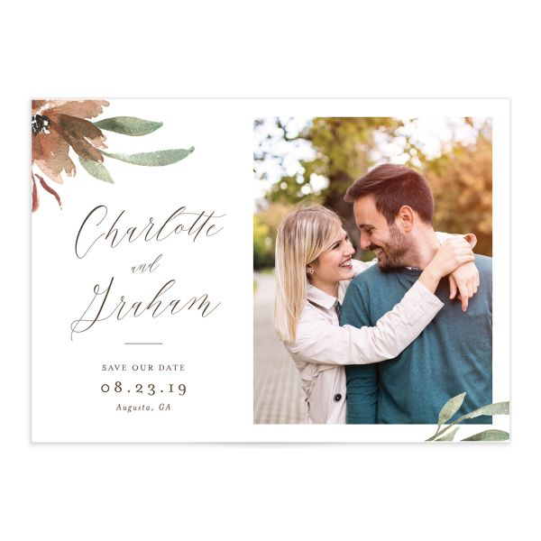 muted floral photo save the dates in copper