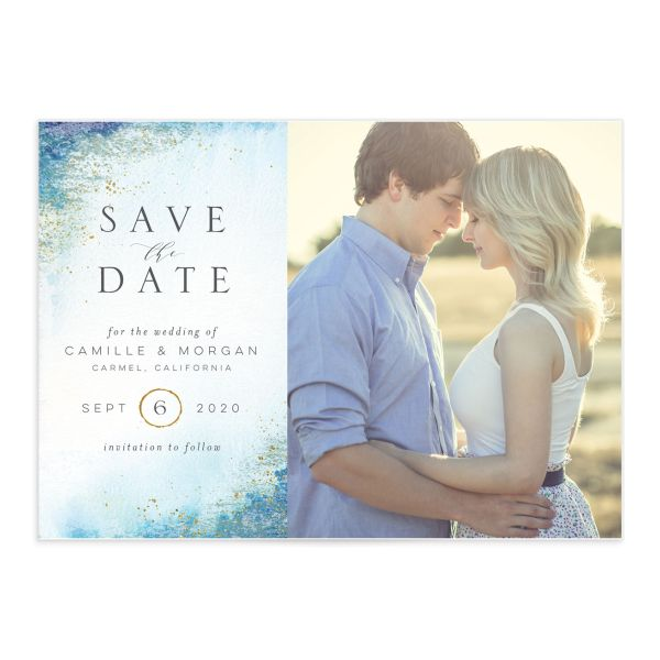 organic luxe save the date in blue
