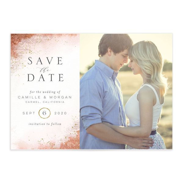 organic luxe photo save the dates in peach