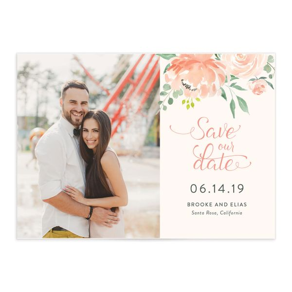 Romantic Floral Photo Save the Date Cards