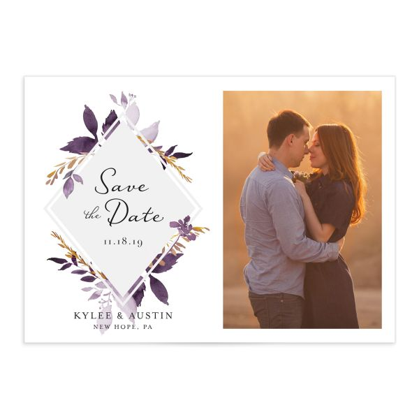 leafy frame fall photo save the date cards in purple