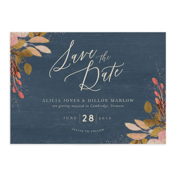 Rustic Leaves Wedding Save the Date Cards