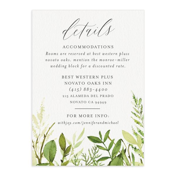 Watercolor Greenery wedding enclosure cards front