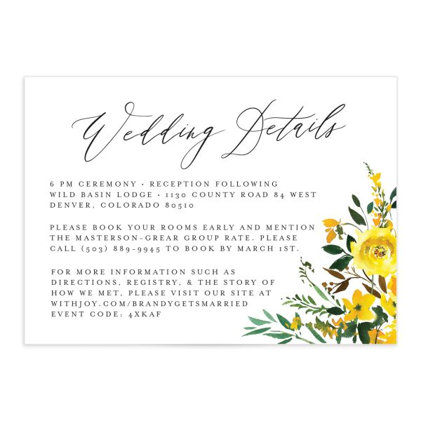Cascading Altar wedding enclosure cards in yellow