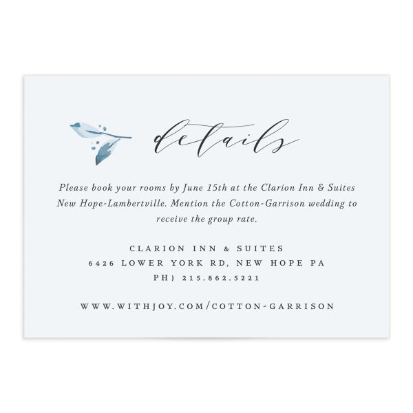 classic greenery wedding enclosure cards in blue