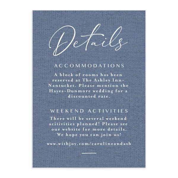 Coastal Love wedding details card in blue front