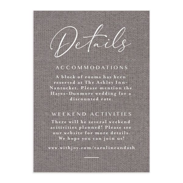 Coastal Love wedding details card in grey front