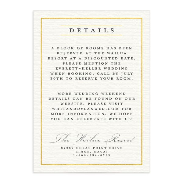 elegant paradise wedding enclosure details cards