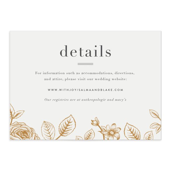 etched botanical wedding enclosure cards