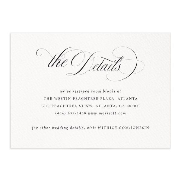 exquisite calligraphy wedding enclosure cards