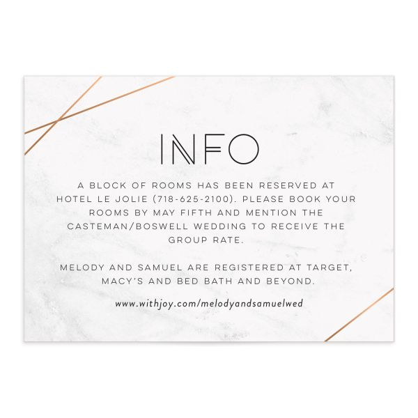 geometric marble wedding enclosure cards