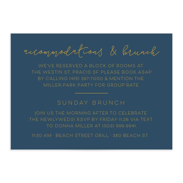 Gold Calligraphy Wedding Enclosure Cards in blue front