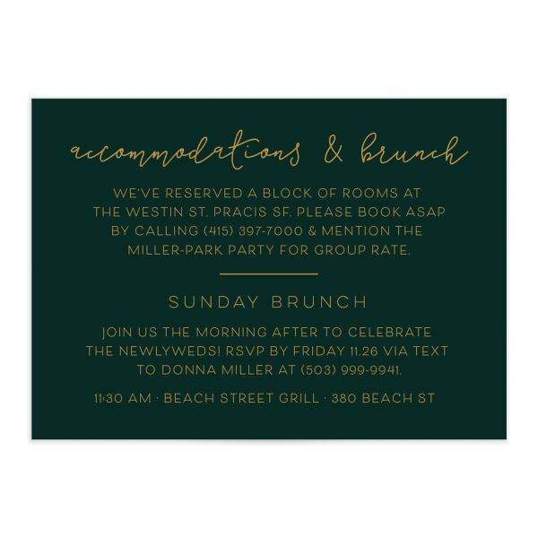 Gold Calligraphy Wedding Enclosure Cards in green front