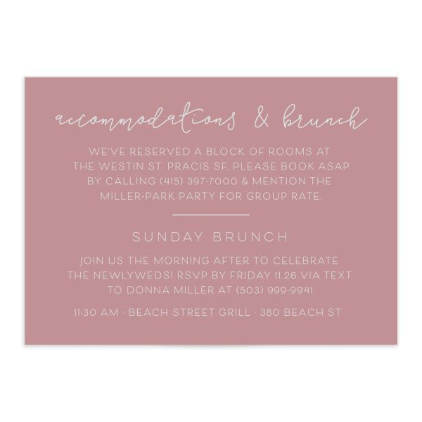 Gold Calligraphy Wedding Enclosure Cards in pink front