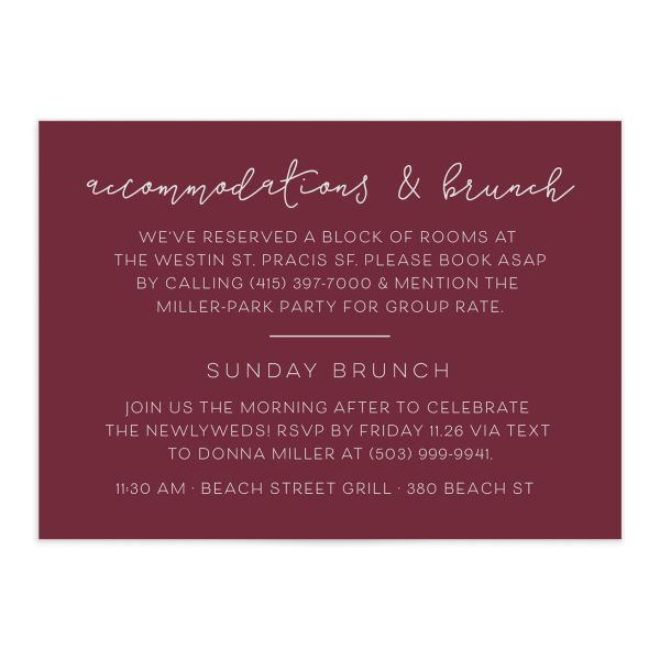 Gold Calligraphy Wedding Enclosure Cards in red front