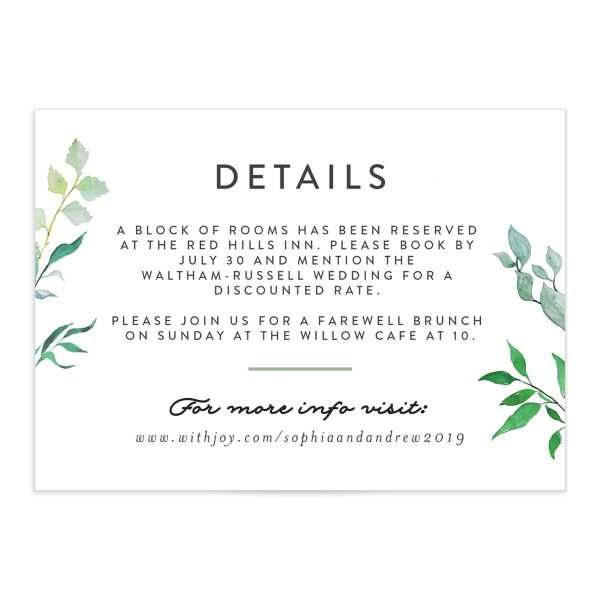 leafy ampersand wedding enclosure cards in green
