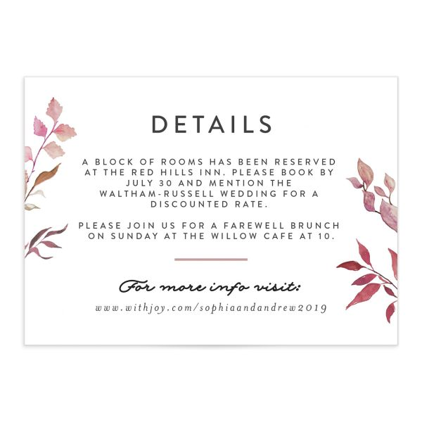 leafy ampersand wedding enclosure cards in purple