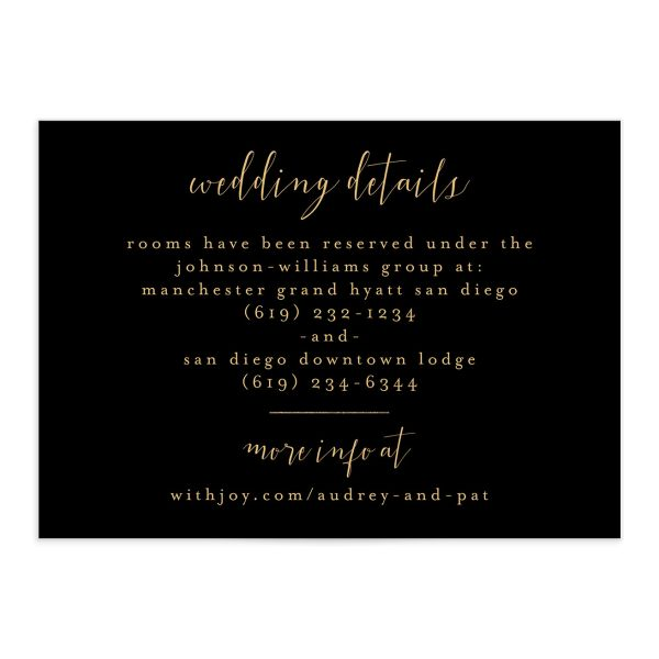 Marble and Gold wedding details card catalog img front black