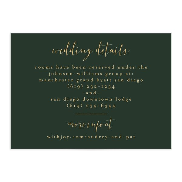 Marble and Gold wedding details card catalog img front green