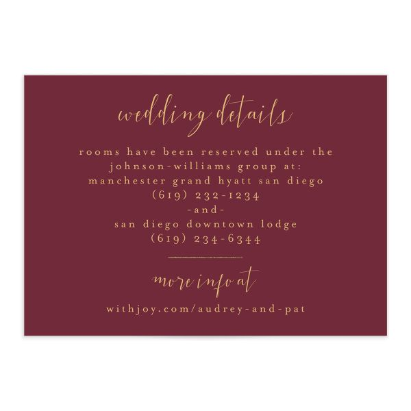 Marble and Gold wedding details card catalog img front red