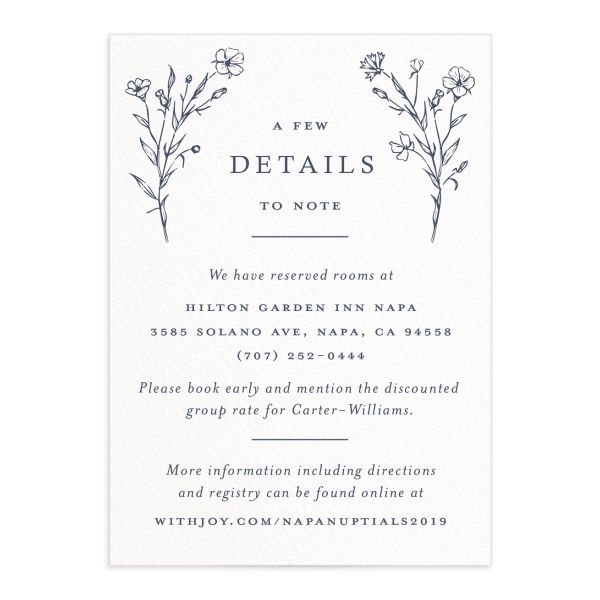 Natural Monogram wedding enclosure cards in blue front