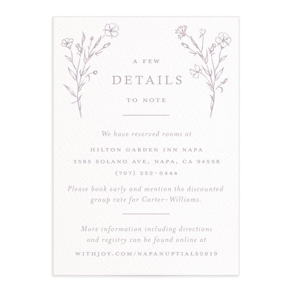 Natural Monogram wedding enclosure cards in purple front