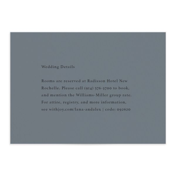 Natural Palette wedding enclosure card in blue front
