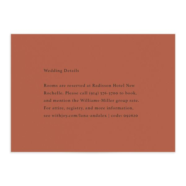 Natural Palette wedding enclosure card in pink front