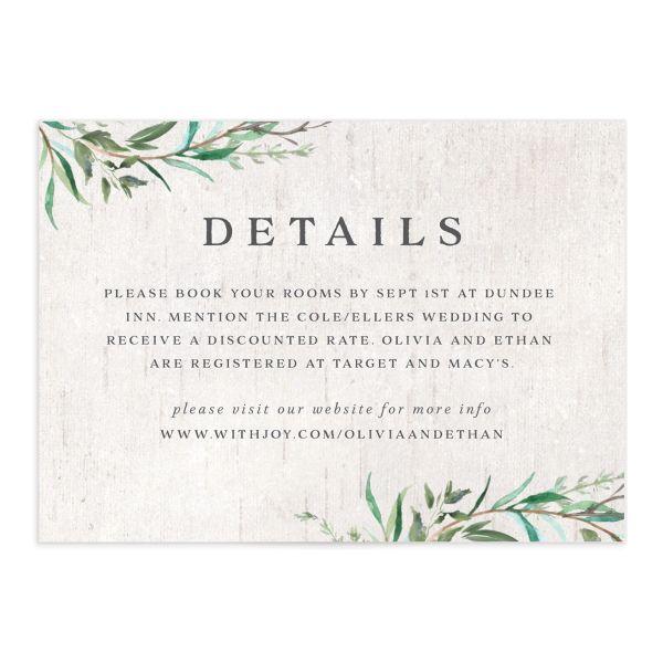 Natural Laurel Wedding Enclosure Cards