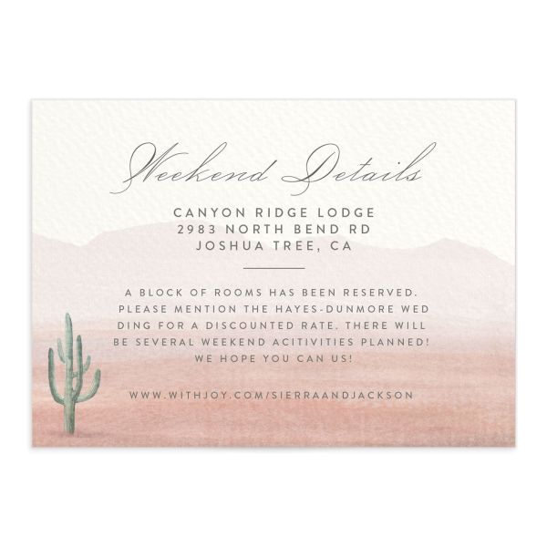 painted desert wedding enclosure cards in pink