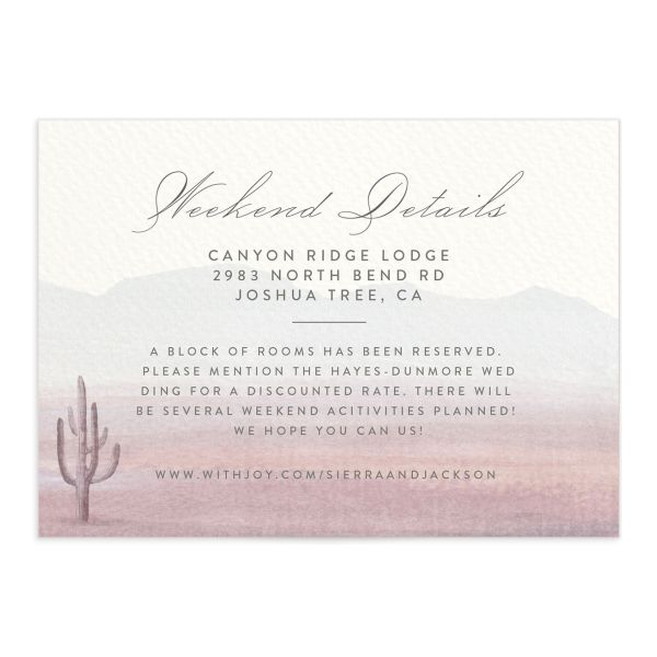 painted desert wedding enclosure cards in purple