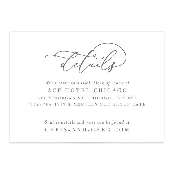 Romantic Calligraphy wedding enclosure card front