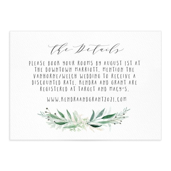 Rustic Wreath Wedding details card front