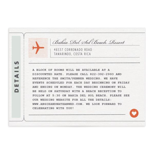 Vintage Boarding Pass enclosure card front green