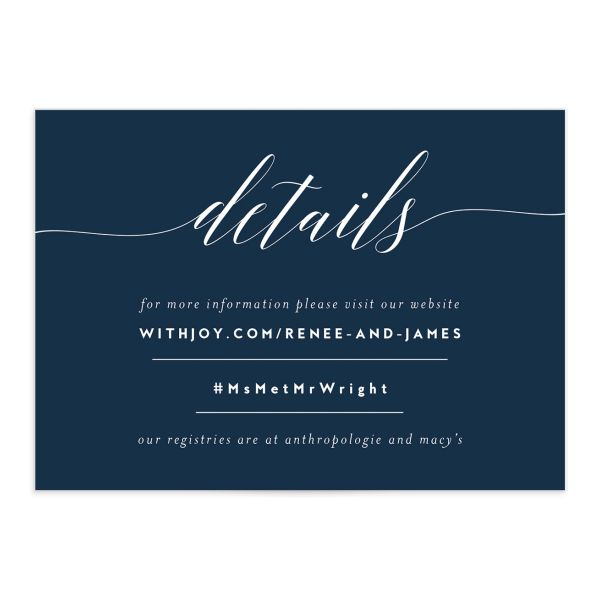 We Do wedding details cards in navy front