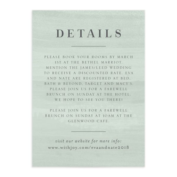 wild wreath wedding enclosure cards in green